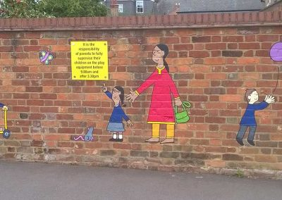 Castle Newnham playground mural - entrance wall (detail) by Katy Dynes