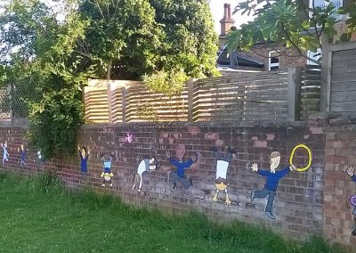 Castle Newnham playground mural - hoops and gymnastics by Katy Dynes