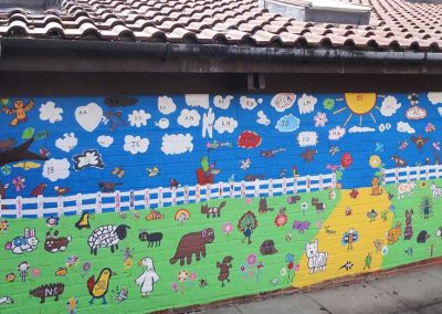 The finished Prayer Garden mural at MK by Katy Dynes