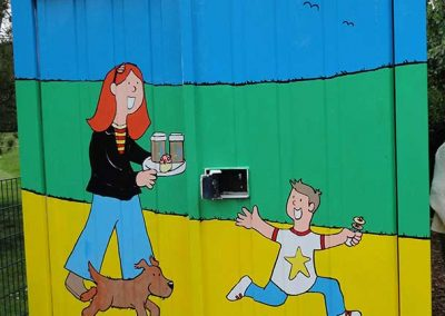 Front view of The Kiosk - a mural at Russell Park, Bedford by Katy Dynes