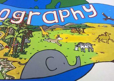 Geography Mural Board (detail) for Westfield School by Katy Dynes