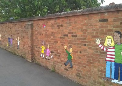Castle Newnham playground mural - nursery entrance by Katy Dynes