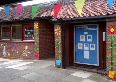 St Monica's Nursery - Gardening and Sunflowers Wall with bunting by Katy Dynes