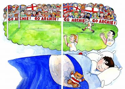 Illustration from 'Archie's Rugby Dream' written by Katharine James - illustrated by Katy Dynes