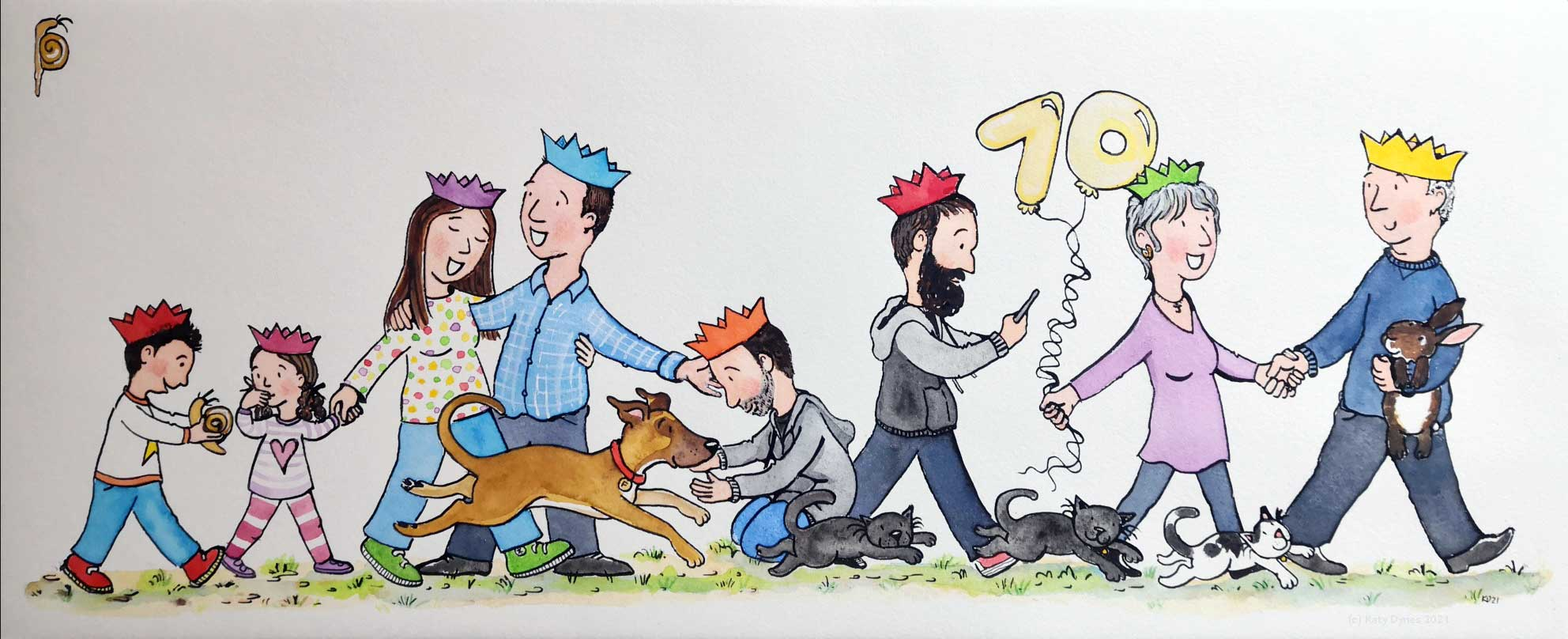 The final painted version of J's commission for S - 70th Birthday - by Katy Dynes 2021